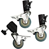Professional Swivel Caster Wheel Set with Durable Metal Construction for Light Stand with 22mm Diameter Leg, Suitable for Studio Video Photography 3 Packs/Set