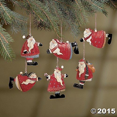 Set of 6 Painted Tin Santa Folk Decoration Christmas Ornaments]()