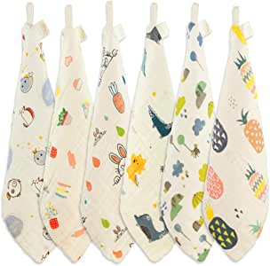 Natural Cotton Baby Washcloth, Wash Gloves Face Towel, Ideal for Sensitive Skin and Baby, Reusable Wipes, 6 Pack 11.8x11.8inchs