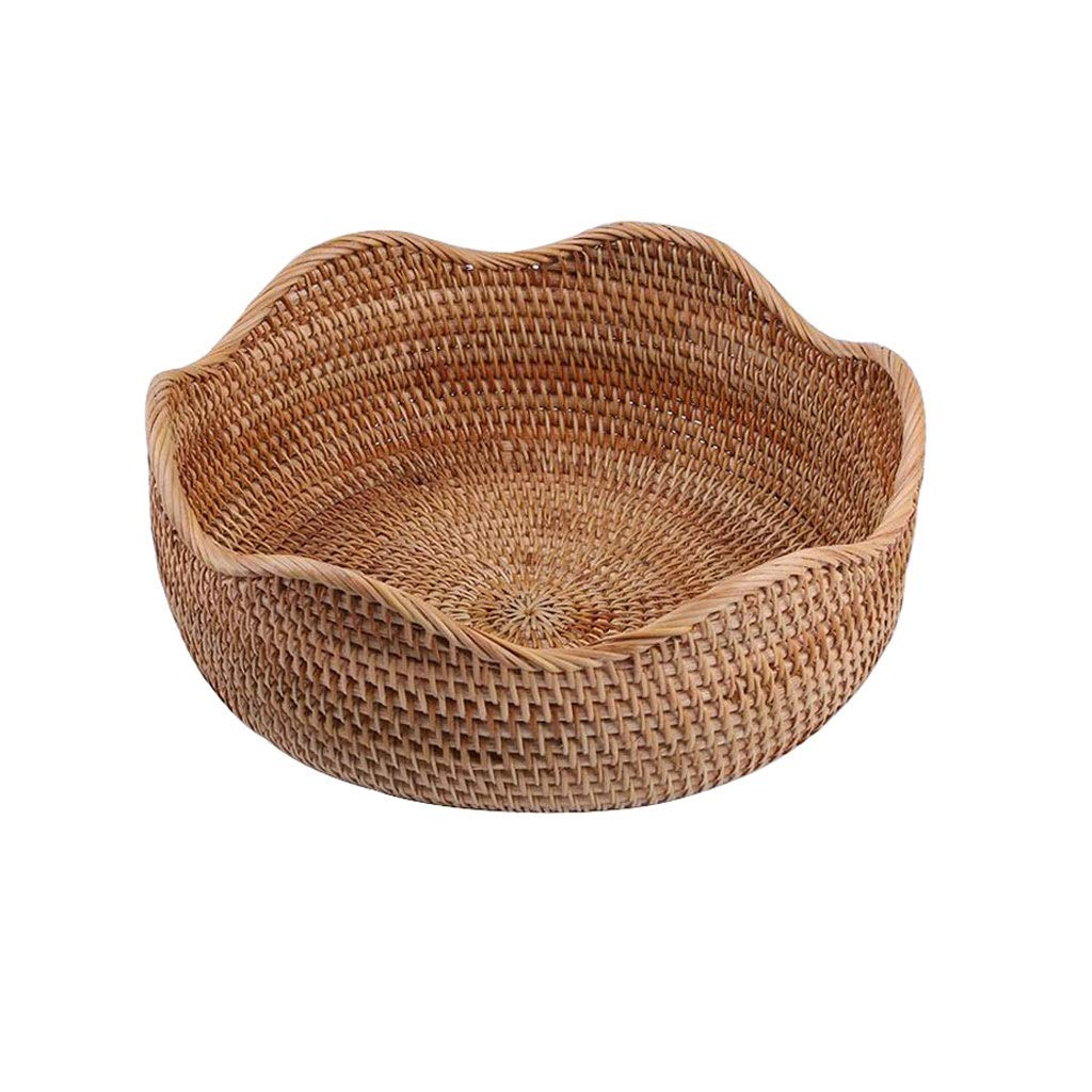 Size : 19.55.7cm WXF Fruit Basket,Round Polyrattan Weaved Wood Basket For Fruit Large Capacity Storage Basket Dessert Living Room Candy Storage Box