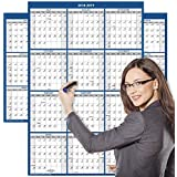 2018-2019 Academic Wall Calendar, Large Wall Calendar Erasable, 24 x 36 inches, 2-Sided Reversible Vertical/Horizontal, Mounting Tape Included (Navy Blue)