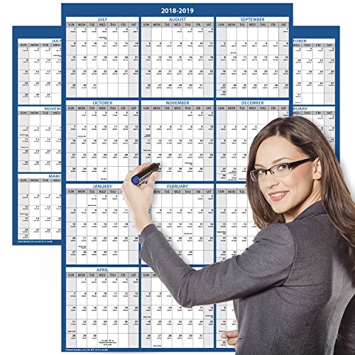 Academic Wall Calendar (2018-2019 Academic Wall Calendar, Large Wall Calendar Erasable, 24 x 36 inches, 2-Sided Reversible Vertical/Horizontal, Mounting Tape Included (Navy Blue))