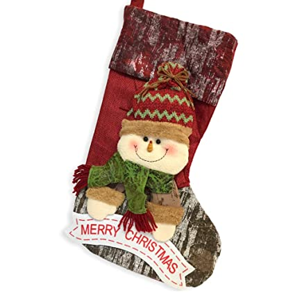 c9433fadcc73b BANBERRY DESIGNS Rustic Christmas Stocking- 3D Snowman Wearing Plush Stocking  Hat and Scarf with Merry