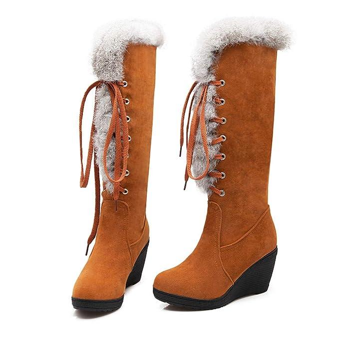 Cálidos Invierno De Forrada Grueso altas botas rodilla la