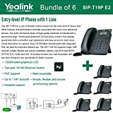 Yealink SIP-T19P E2 Bundle of 6 VoIP Phone with 1 Line, PoE, Dual 10/100 Mbps