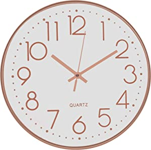 TOPPTIK 12 Inch Modern Wall Clock Silent Non Ticking Easy to Read Decorative Wall Clocks for Living Room Decor Home Office Kitchen (White- Rose Gold)