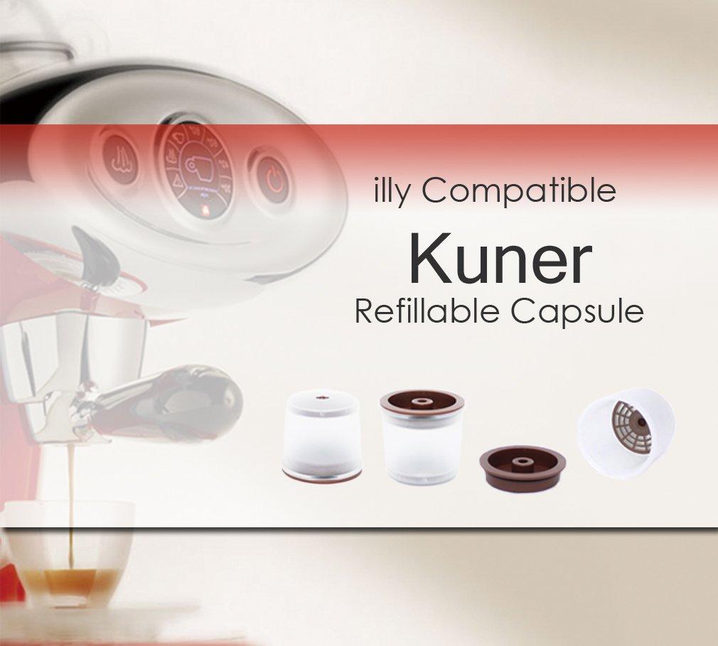 Kuner Illy Compatible Recargable 3 Cuentas Cápsulas Reutilizables Filtros Con Máquina De Café Illy Todos: Amazon.es: Hogar