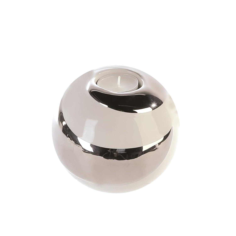 Bougeoir pour bougie chauffe-plat, CRÉOLE, en céramique, blanc/argenté, diamètre 12 cm Casablanca