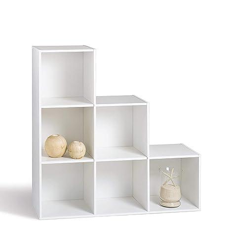 Rangement 6 Cubes Blanc 5 Escalier Er 29 Compo Casiers Bibliothèque De Etagères 93 X Cm Meuble En n0wOPk