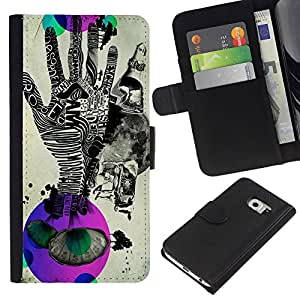 KingStore / Leather Etui en cuir / Samsung Galaxy S6 EDGE / Pop Arte Abstracto Handprint