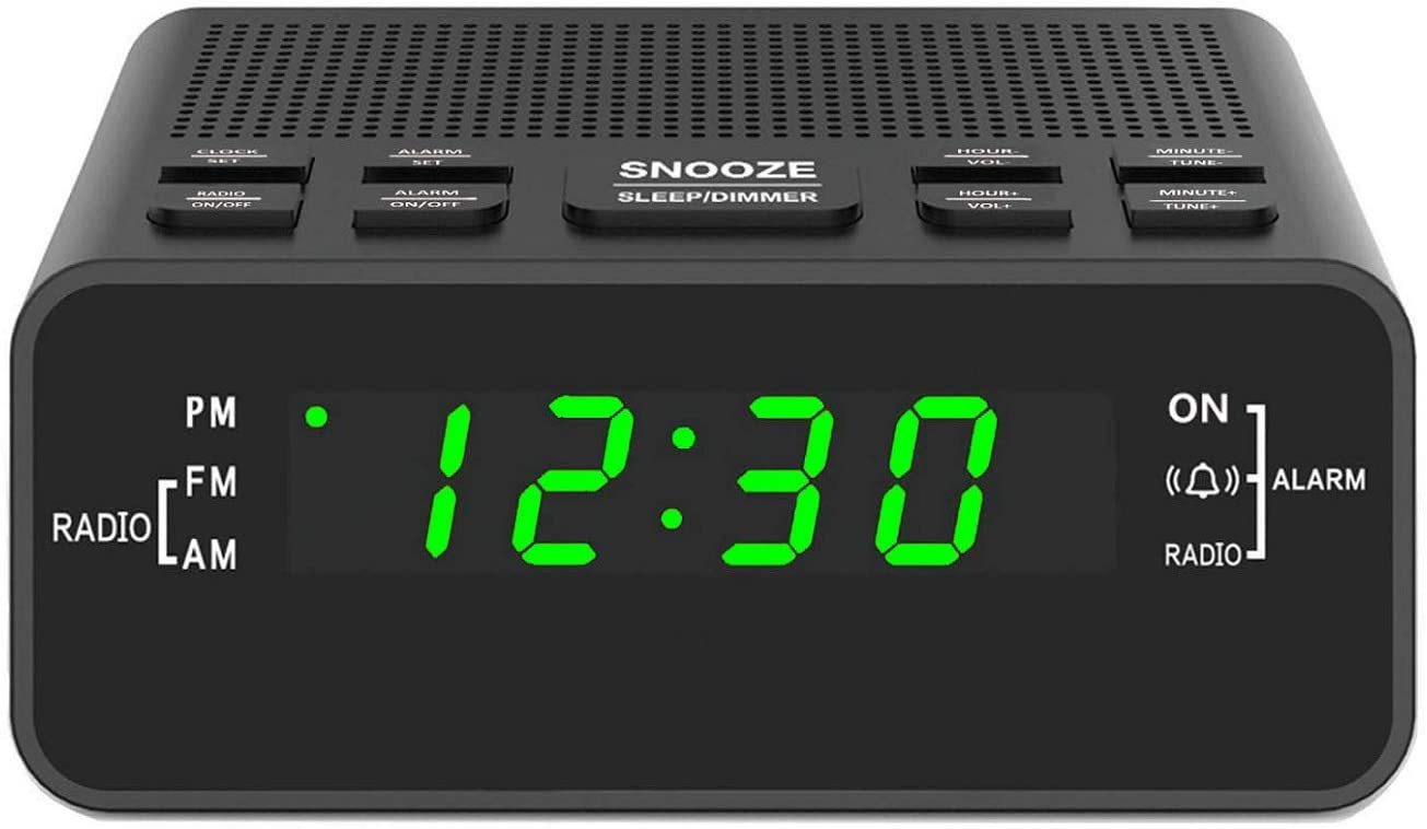 "Digital Alarm Clok Radio, Alarm Clocks for Bedrooms with AM/FM Radio, Sleep Timer, Dimmer, Easy Snooze, Battery Backup - 0.6"" Green LED Digits"