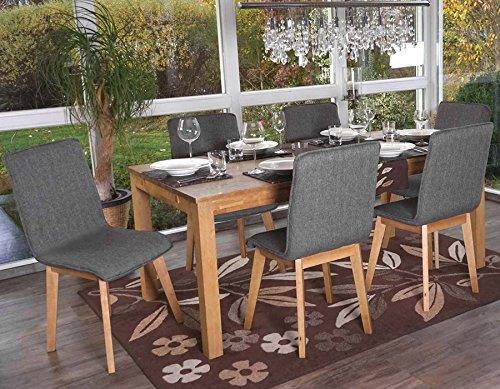 Set 6x sedie sala da pranzo Zadar tessuto legno massello 44x46x94cm ...