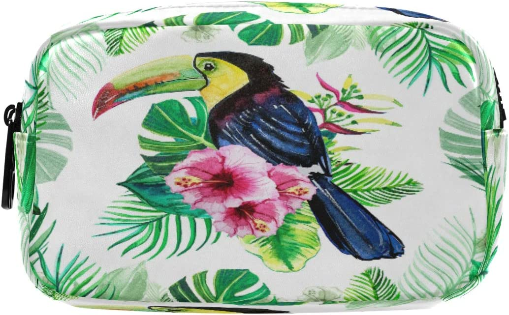 Hunihuni - Estuche para lápices, diseño de animales tropicales con hojas de tucán de gran capacidad, bolsa de maquillaje con compartimentos dobles con cremalleras