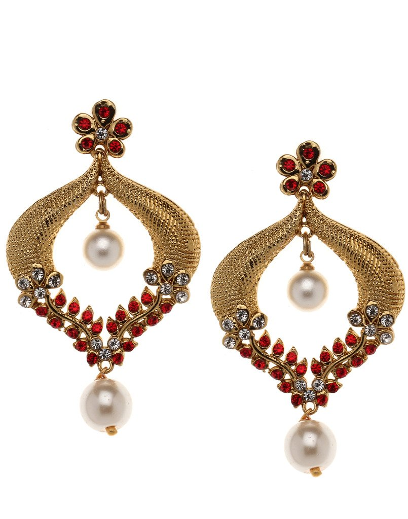 Bindhani Indian Bollywood Style Bridal Wedding Earrings For Women (Red)