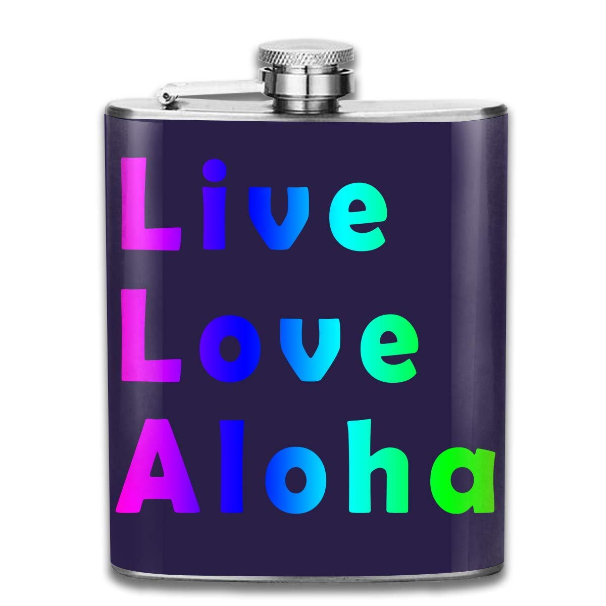 dfegyfr Men and Women Thick Stainless Steel Hip Flask 7 OZ Live Love Aloha Pocket Container for Drinking Liquor Whiskey