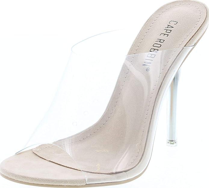 peep toe transparent slip-on heels