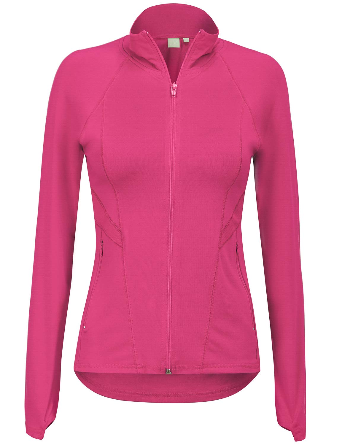 Regna X Women's Full Zip Up Activewear Stretchy Spandex Track Jacket Pink S