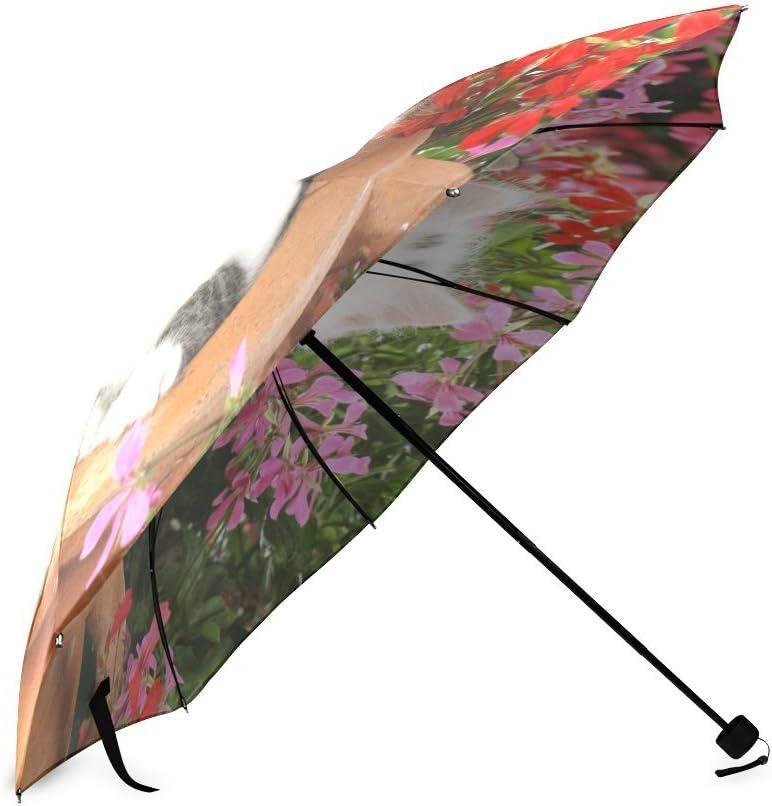 Custom Cute Cat Compact Travel Windproof Rainproof Foldable Umbrella