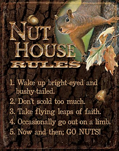 Wild Wings Nut House Rules Tin Sign