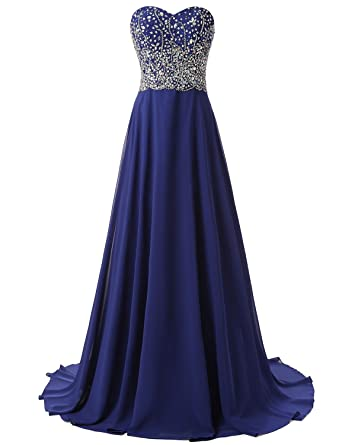 TrendProm Womens Prom Dresses A Line Chiffon Sweetheart Evening Dresses Size 0 US Dark Royal Blue