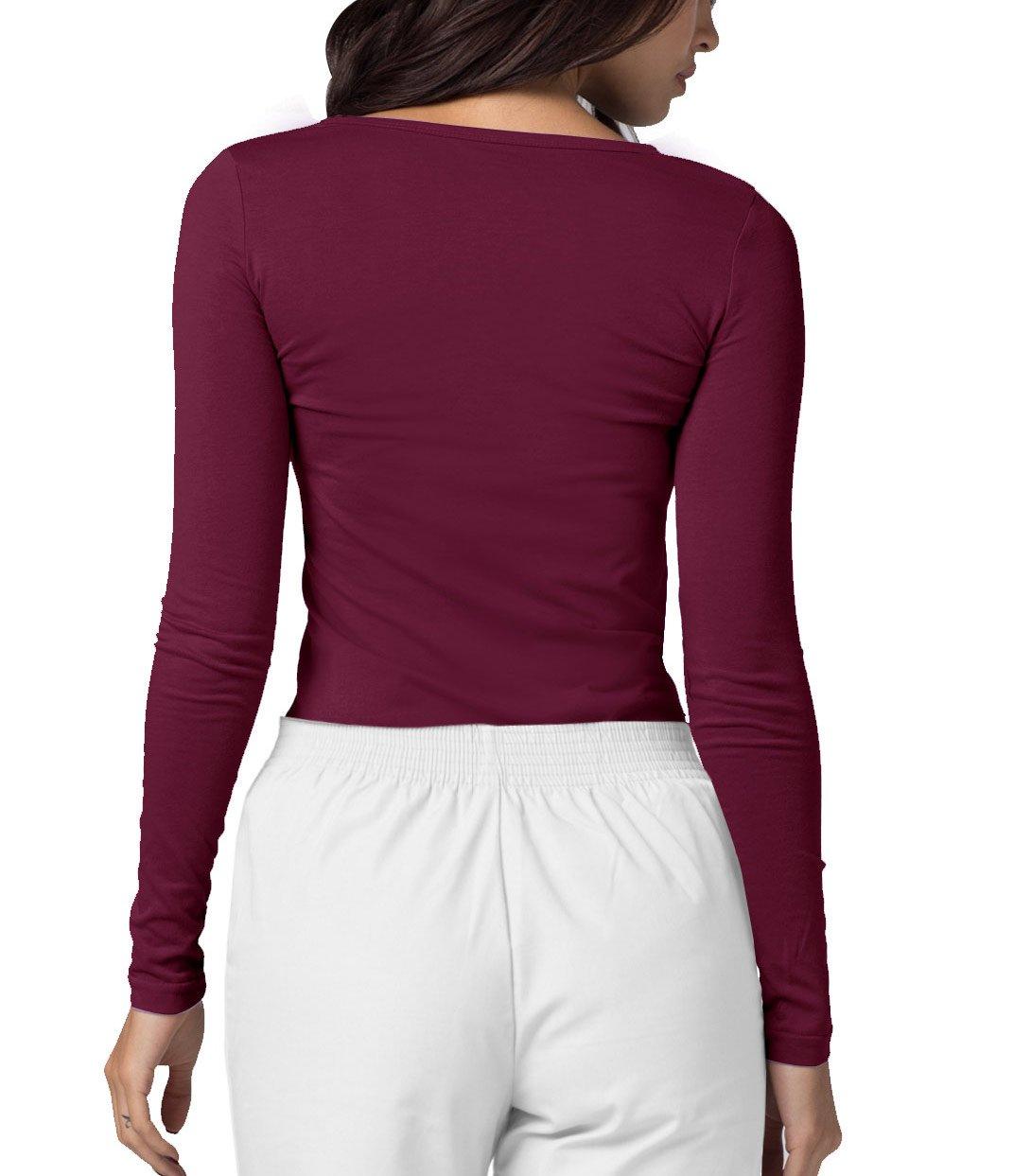 ADAR UNIFORMS Adar Womens Comfort Long Sleeve T-Shirt Underscrub Tee - 2900 - Burgundy - M by ADAR UNIFORMS (Image #2)