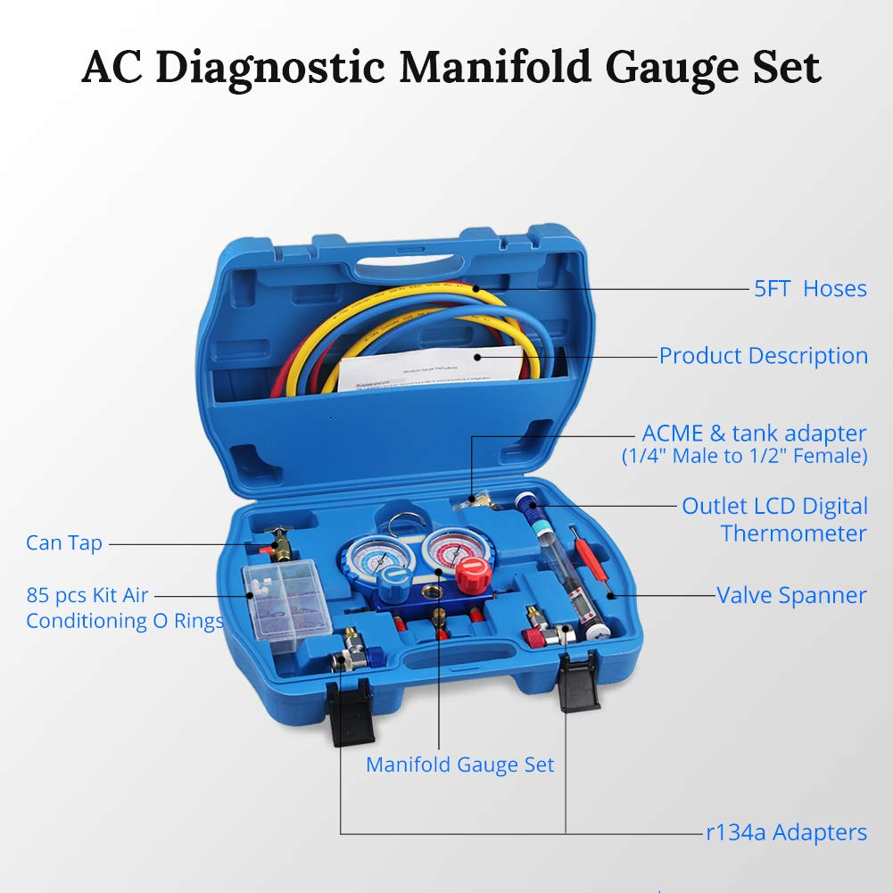 JDMON AC Diagnostic Manifold Gauge Set for Freon Charging, Fits R134A R404A R407C and R22 Refrigerant, with 5FT Hose, Acme Tank Adapter, Adjustable Couplers, Can Tap, Thermometer, Spanner and O Rings by JDMON (Image #1)