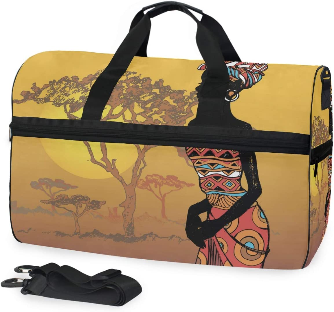 TFONE Tribal African Woman Duffel Bag Sports Gym Weekend Bags with Shoe Compartmen