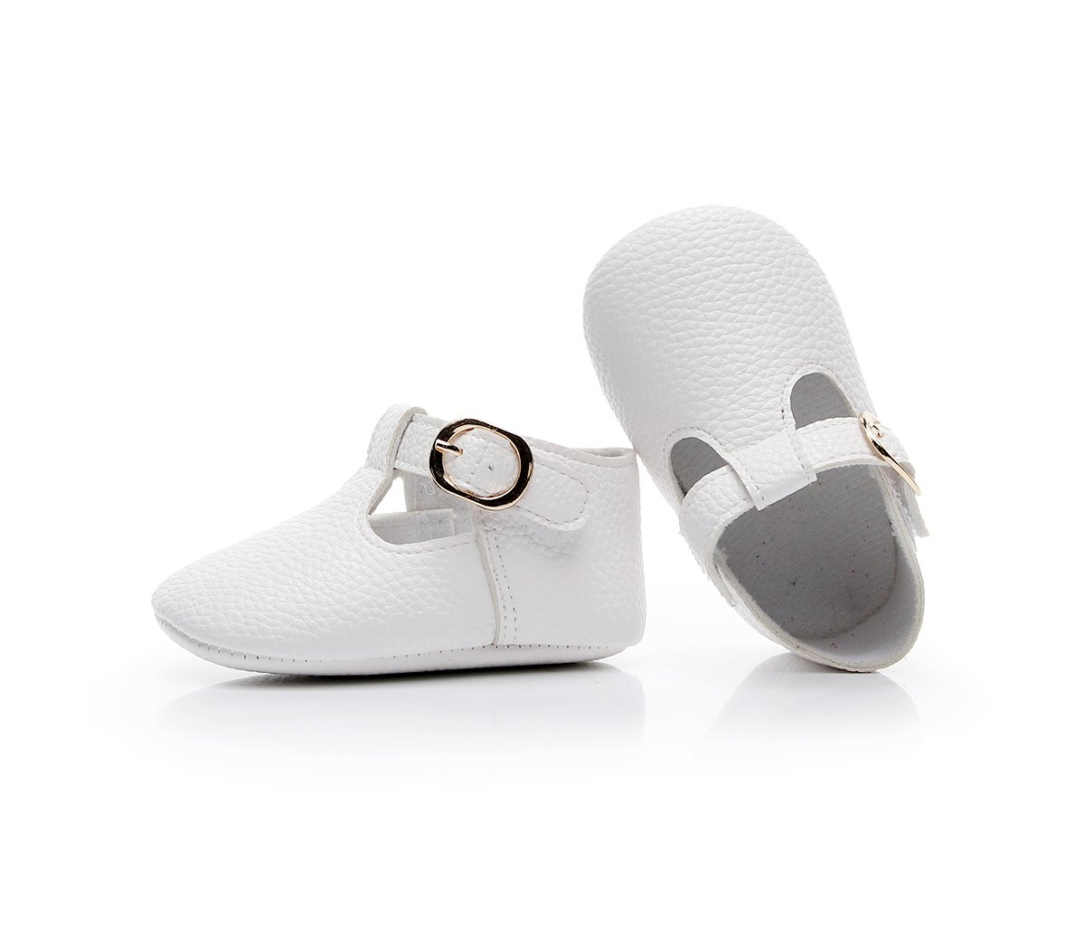 HONGTEYA Baby Girls Pure T-Strap Moccasins - Newborn First Walker Mary Jane PU Soft Soled Shoes (Size:12-18 Months/US 6/5.12''/See Size Chart, White) by HONGTEYA (Image #7)