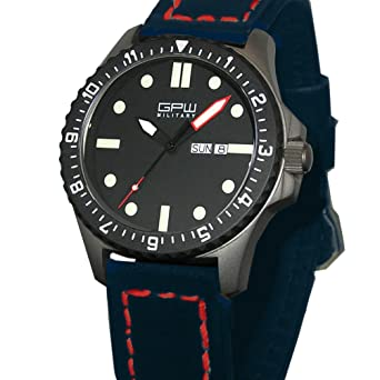 dc8b48e4c3b Image Unavailable. Image not available for. Color  German Military Titanium  Watch. GPW Day Date. Sapphire Crystal.