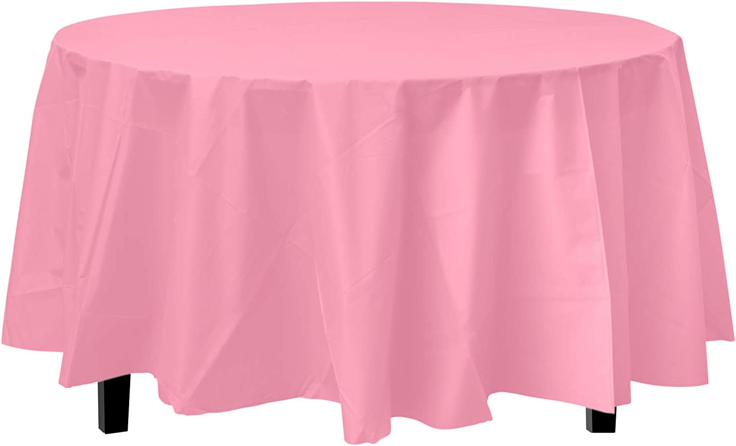 6-Pack Premium Plastic Tablecloth 84in. Round Plastic Table Cover - Pink