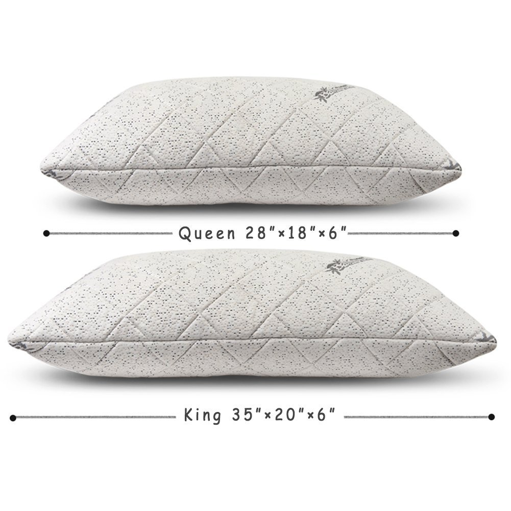 Cr Comfort & Relax Shredded Bamboo Memory Foam Pillow for Neck Support with Free Pillowcase, Queen