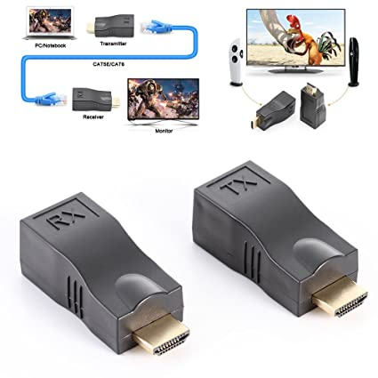 Generic 30m 1080P 4k HDMI to RJ45 Extender CAT5E CAT6 Cable Network Converter Repeater HDMI Cables at amazon