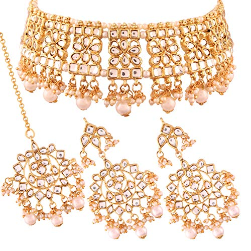 I Jewels Gold Plated Traditional Kundan Necklace Set with Earrings & Maang Tikka for Women (K7069W)