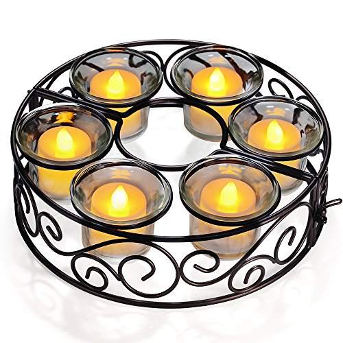 Candle Holders, TOTOBAY Round Black Wrought Iron Table Candlestick Centerpiece with 6 Votive Glass Cups for Indoor Outdoor Patio Umbrellas Table( Candle Not Included ) (Outdoor Iron Table)