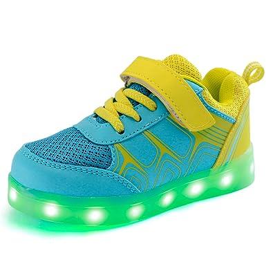 DoGeek Zapatos LED Niños Niñas Negras Blanco 7 Color USB Carga LED Zapatillas Luces Luminosos Zapatillas LED Deportivos para Hombres Mujeres (Elegir1 Tamaño ...