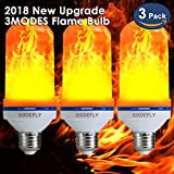[2018 New Upgrade]Can switch 3 lighting modes Flame Bulb E26 Flame Effect LED Light Bulbs Flickering Fire Atmosphere Decoration for Hotel/ Bars/ Home/ Restaurants 3-Pack