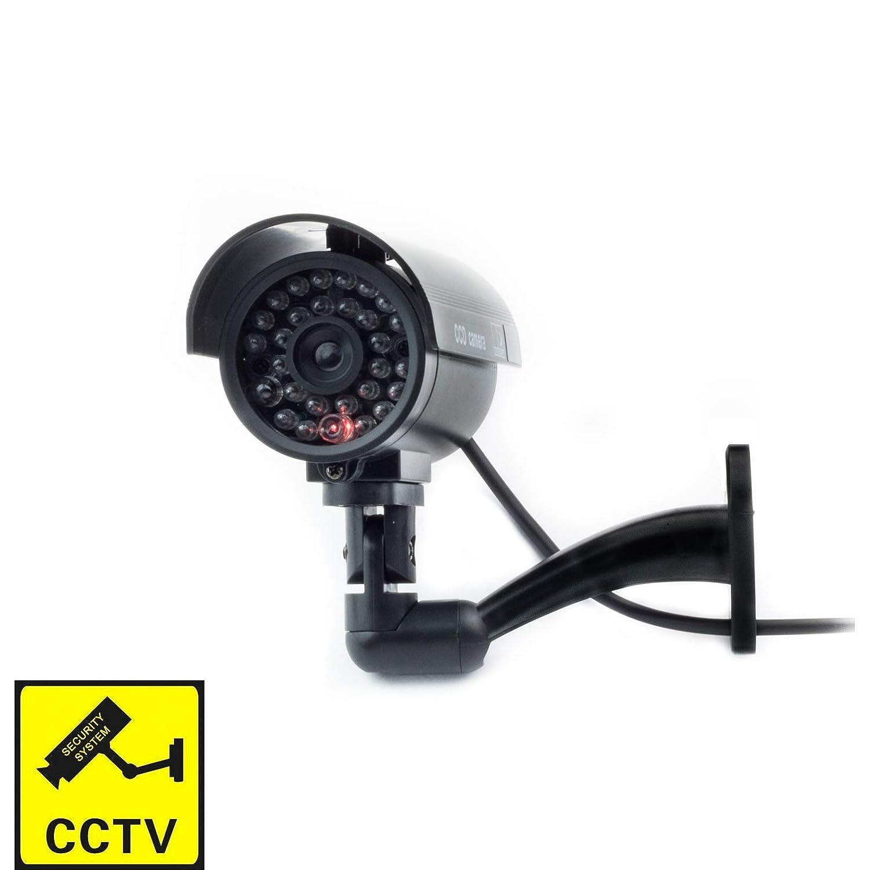 Digicharge/® C/ámara Seguridad Falsa Interior Exterior Calidad CCTV C/ámara de Vigilancia con Intermitente Luz LED Noche x 1