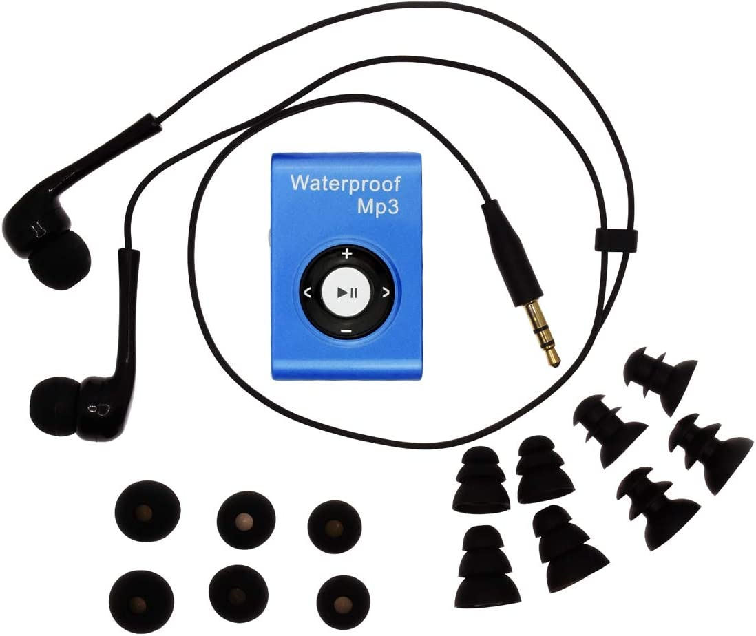 SWMIUSK Waterproof MP3 Player Built-in 8GB Swimming Diving Sports with Waterproof Headphones Players Support FM Radio and Shuffle Feature Perfect Swimming Companion (Blue)