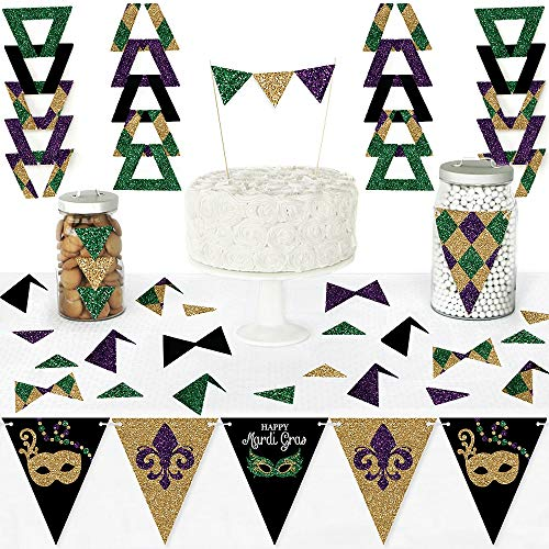Mardi Gras Pennant Banner - Big Dot of Happiness Mardi Gras - Diy Pennant Banner Decorations - Masquerade Party Triangle Kit - 99 Pieces