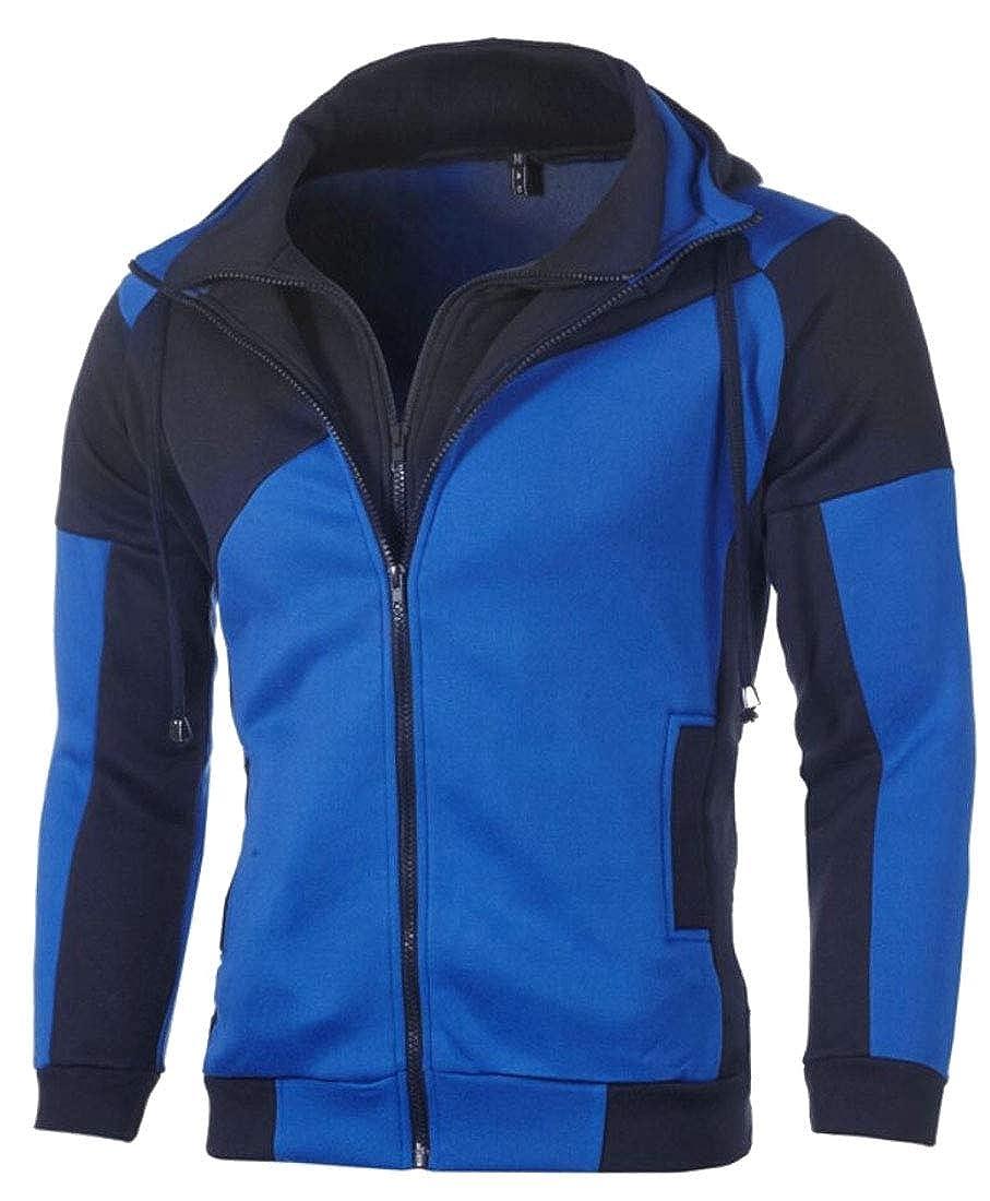 Yayu Mens Hooded Color Block Casual Hoodies Zipper Workout Sweatshirt Jackets