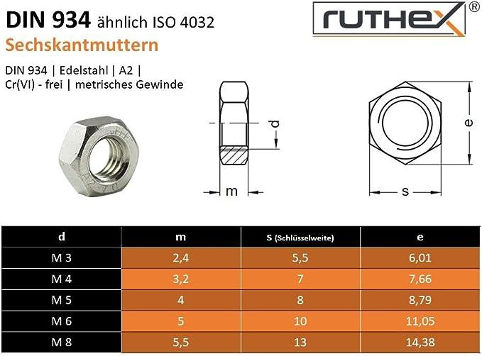 100 Sechskantmutter DIN 934 Edelstahl A2 M5 St/ück