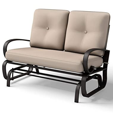 Giantex Loveseat Outdoor Patio Rocking Glider Cushioned 2 Seats Steel Frame Furniture