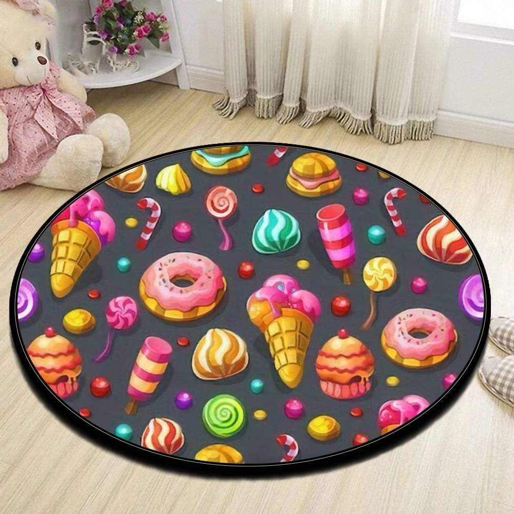 Kids Round Area Rugs Baby Crawling Mats Game Blanket Baby Play Mat Rugs Ice Cream Cone with Dripping White Glaze and Wafer Texture Abstract Floor Carpet Indoor Outdoor for Playroom Nursery Bedroom