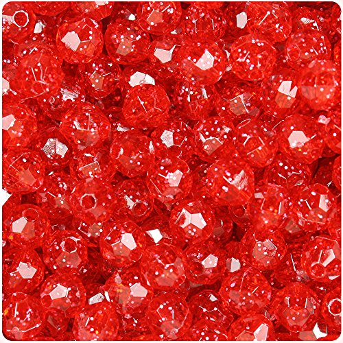 BEADTIN Ruby Red Sparkle 8mm Faceted Round Craft Beads (8mm Round Faceted Acrylic Beads)