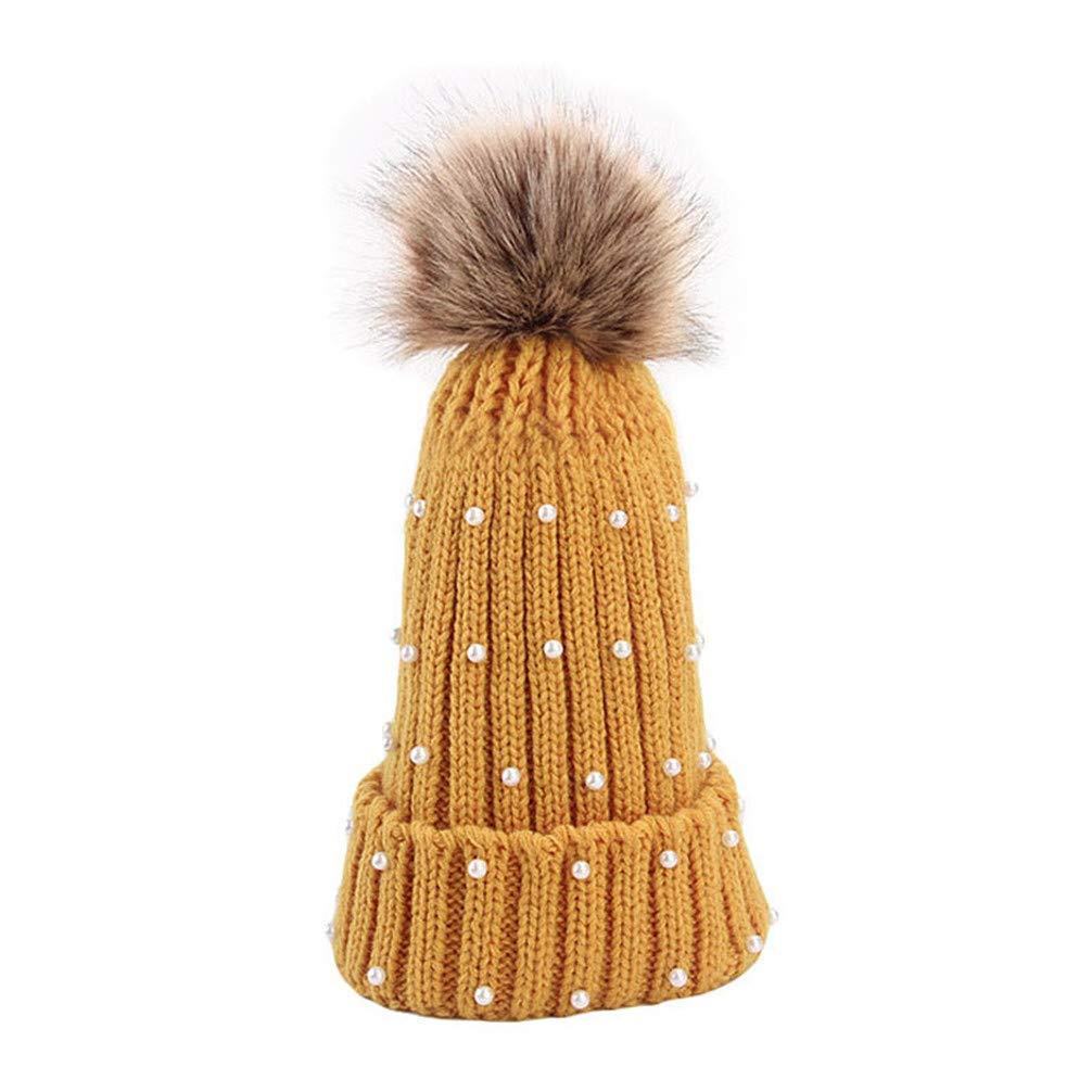 RGUU Fashion Pearl Knitted Hat Winter Hats for Women Female Beanie Cap Woolen Beanies Navy Blue