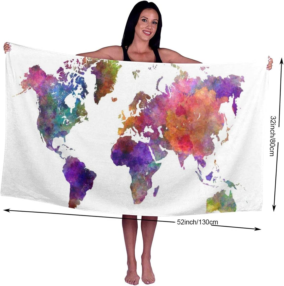 Kwhy Color Map Printed Bath Towel Lightweight Large Beach Towel Ultra Absorbent Bath Towel Bath Sheet for Beach//Home//Spa//Pool//Gym//Travel
