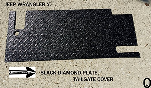 Jeep Wrangler YJ Black Rubber Coated Diamond Plate Tailgate (Jeep Wrangler Diamond Plate)