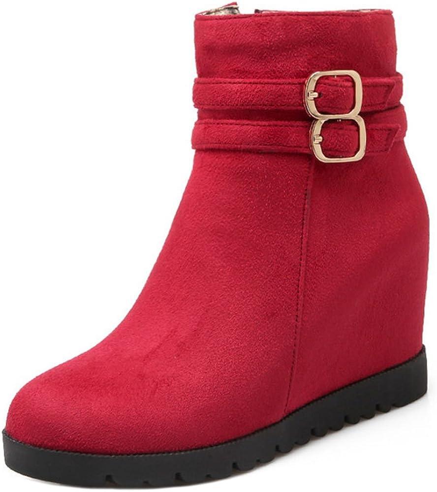 RAZAMAZA Botines Hebillas con Cremallera para Mujer, Red, 34 EU=34 Asia: Amazon.es: Zapatos y complementos
