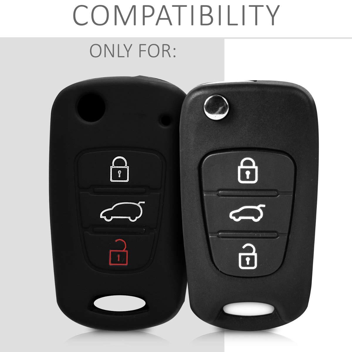 Coque pour Clef de Voiture Pliable Kia 3-Bouton en Silicone Blanc-Noir /Étui de Protection Souple kwmobile Accessoire cl/é de Voiture pour Kia