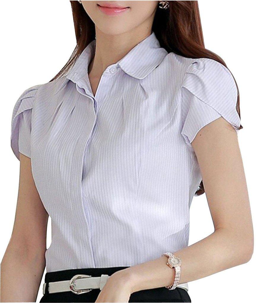 940d84a525c77 DPO Lady s Cotton Pleated Button Down Short Sleeve Blouse Cyan Stripe 6 Tag  L